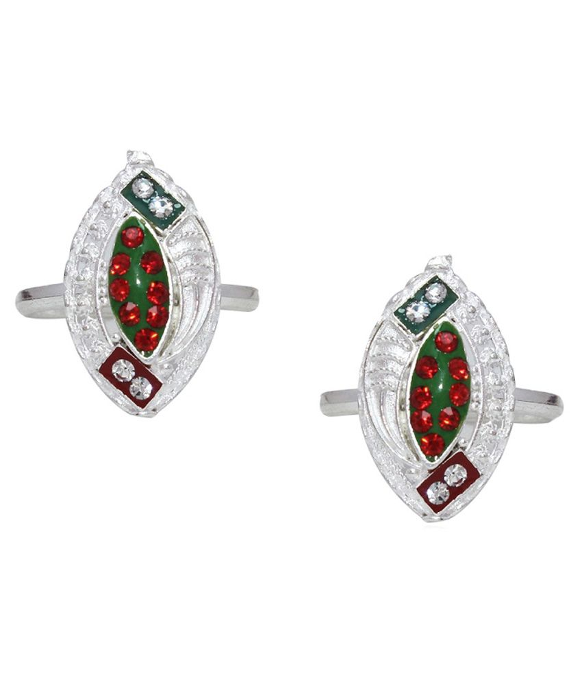 Ranvijay Multicolour Zircon German Silver Toe Ring