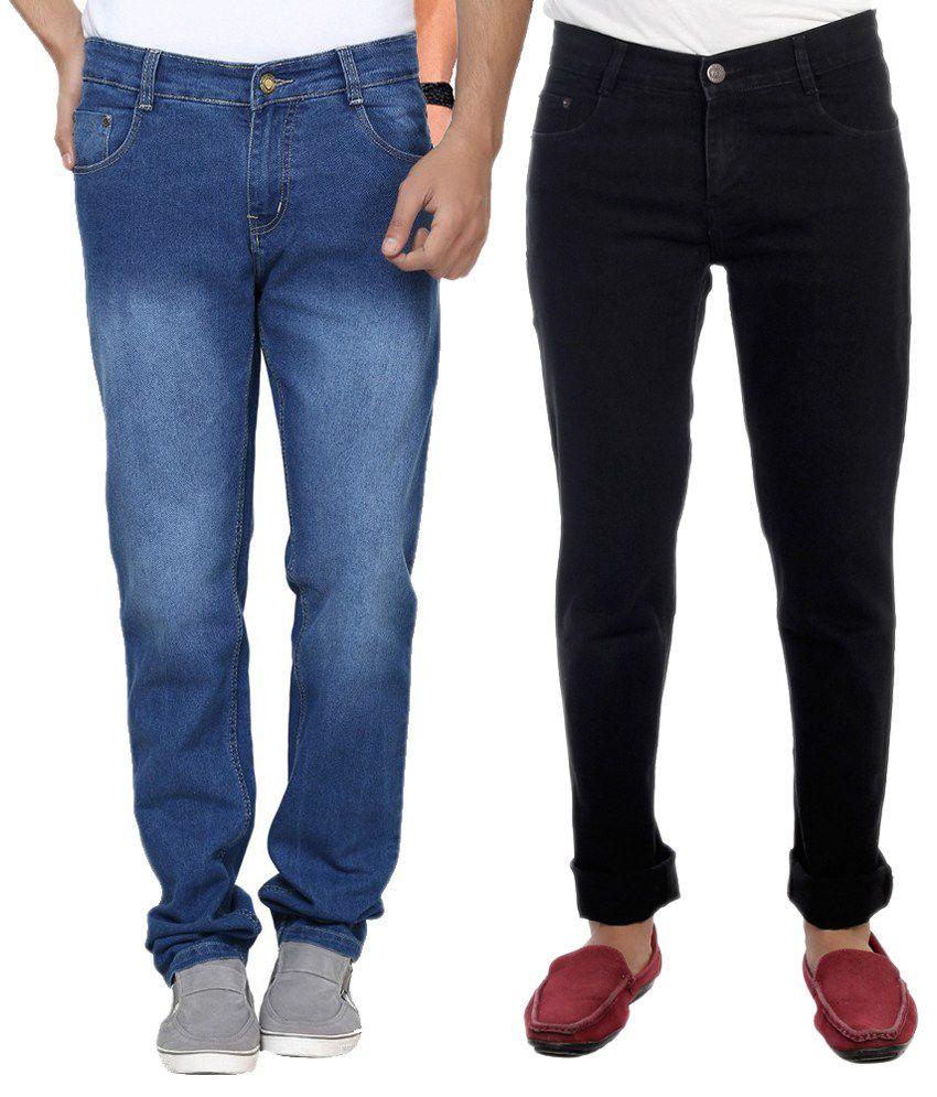 Ave Blue And Black Regular Fit Men-jeans