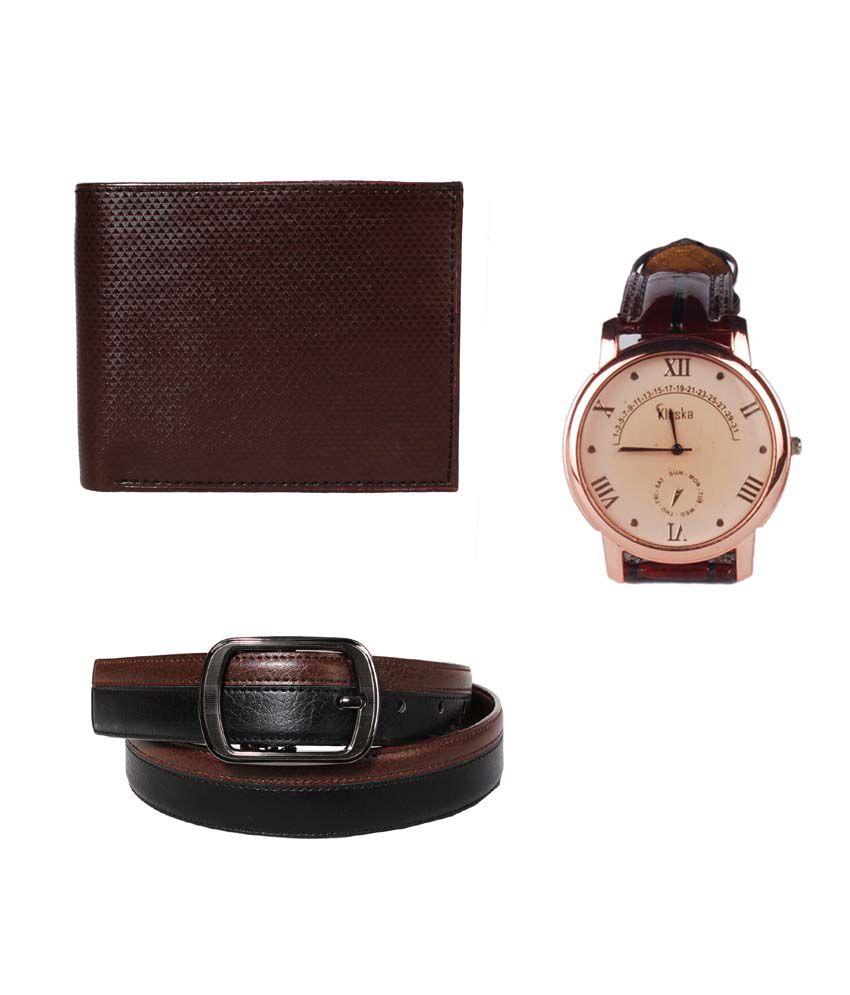 Klaska Combo of Genuine Leather Wallet, Belt & Wrist watch for Men