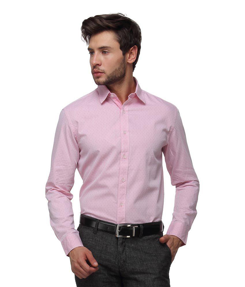 Proline Pink Slim Fit Solids Shirt
