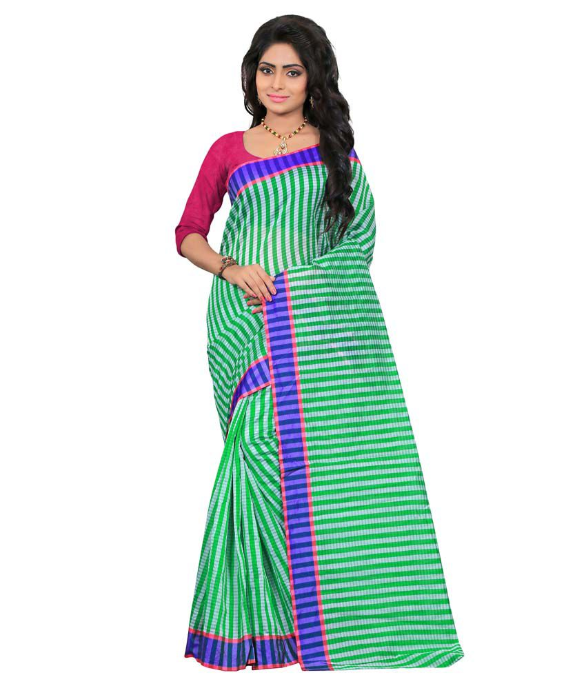 Indi Wardrobe Green Silk Saree
