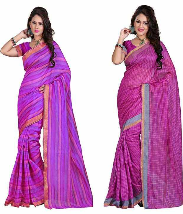 IndianEfashion Multi Cotton Silk Pack Of 2