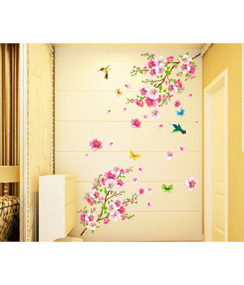 Stickerskart Pink and Green Vinyl Flowers TV Background Branch LED ...