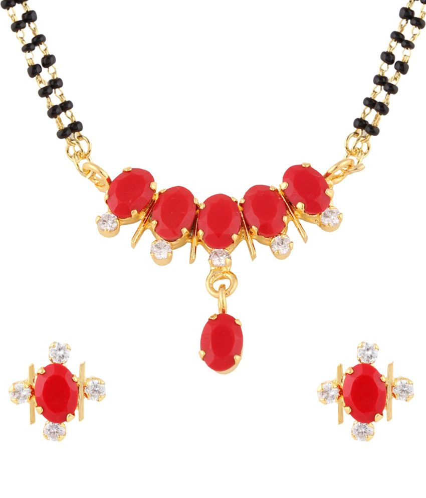 Archi Collection Red And Golden Alloy Mangalsutra Set