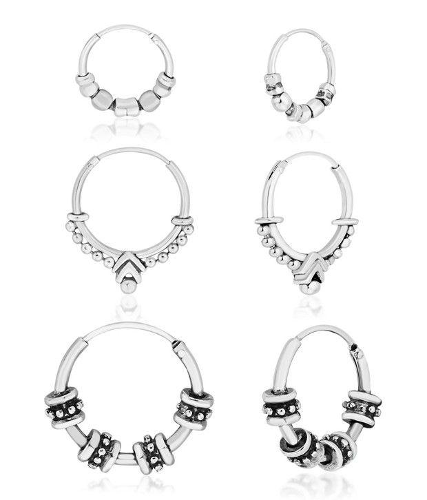 Taraash 92.5 Sterling Silver Hoop Earrings