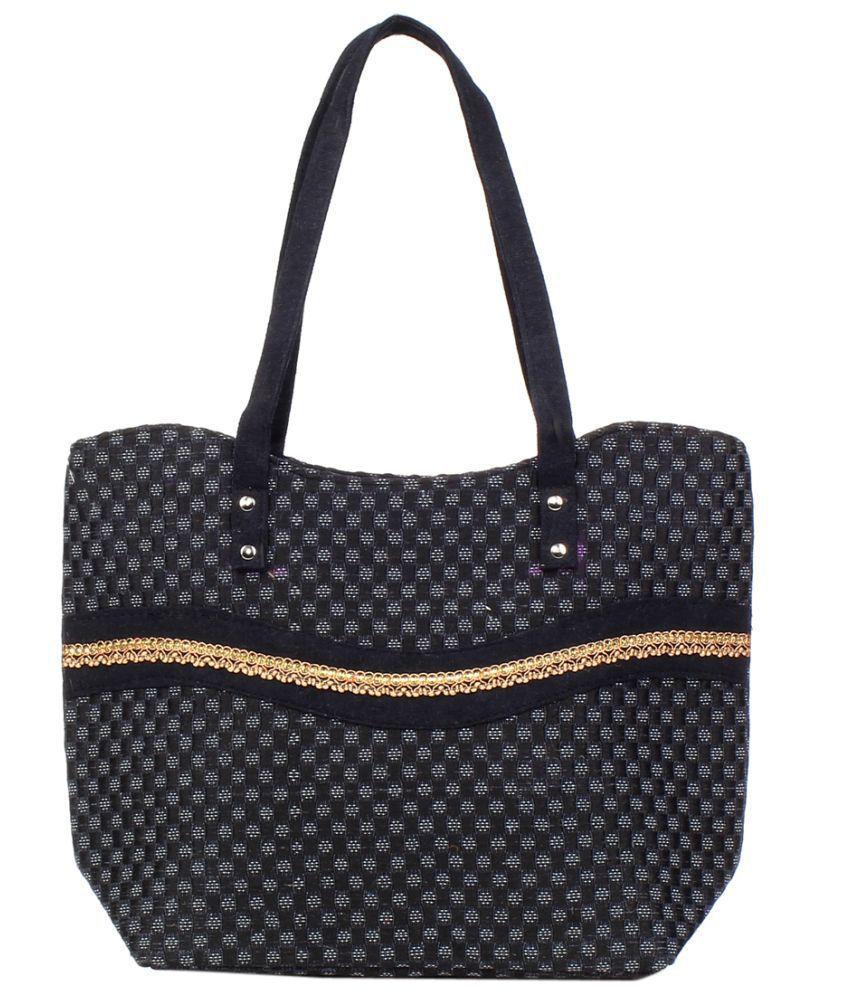 Fashion 360 Black Jute Tote Bag