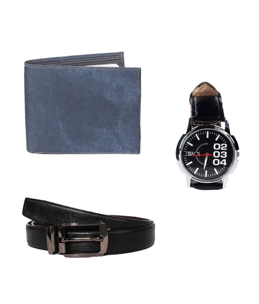 Klaska Combo of Blue Leather Wallet, Belt & Wrist Watch for Men