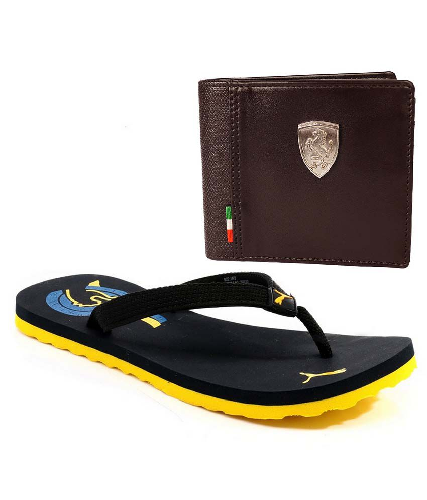 738075273f323 Puma Combo Of Wave Black   Yellow Flip Flops With Puma Brown Ferrari Wallet  Price in India- Buy Puma Combo Of Wave Black   Yellow Flip Flops With Puma  Brown ...