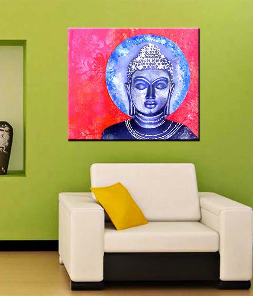 Tallenge Medium Blue Blue Buddha Art Gallery Wrap Canvas Art Print