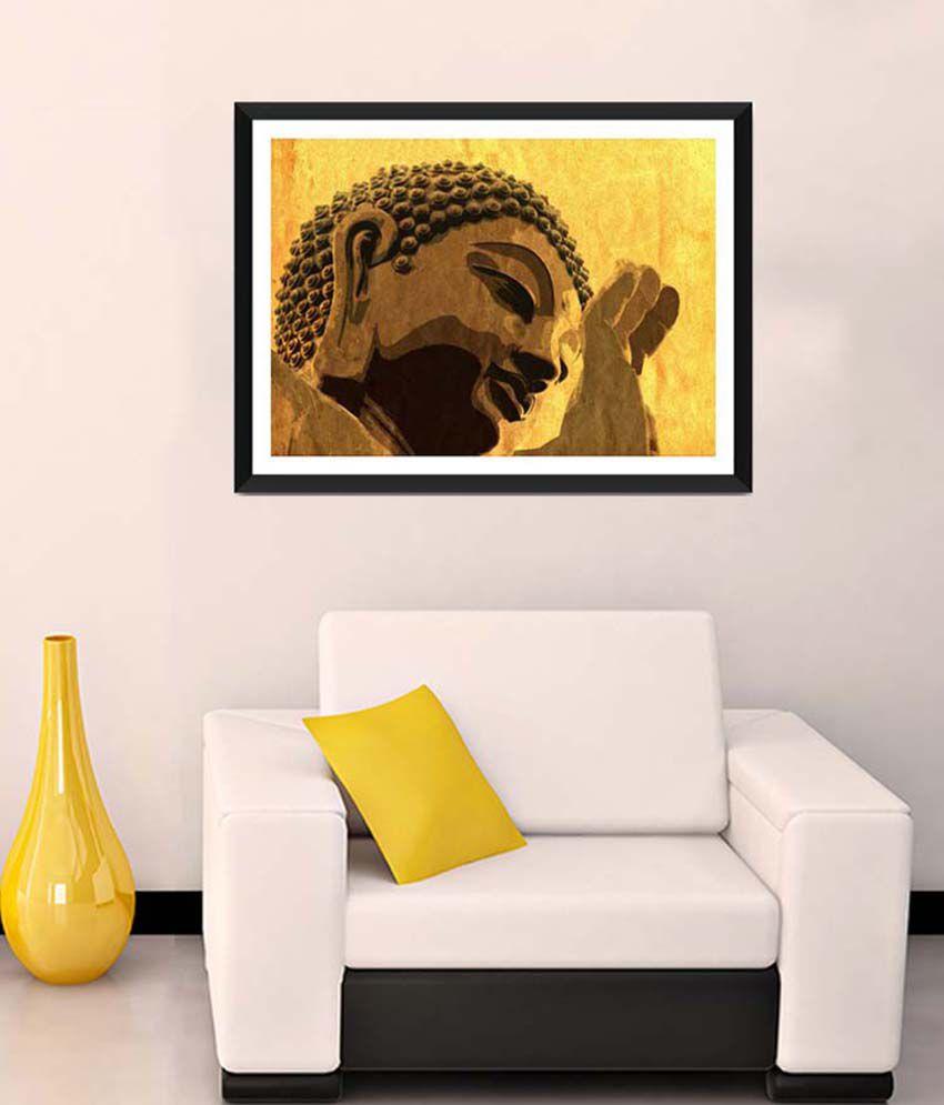 Tallenge Medium Brown Gautam Buddha Framed Art Print
