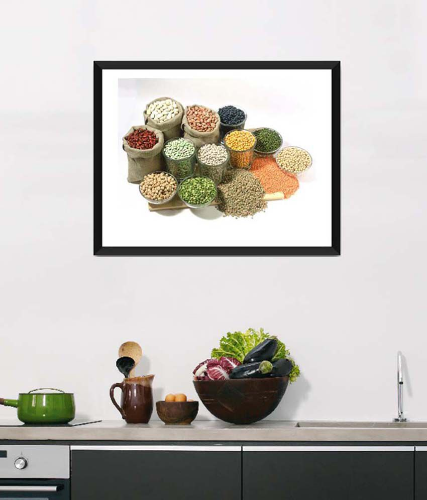 Tallenge Medium Green Art For Kitchen Healthy Food For A Healthy Life Framed Art Print