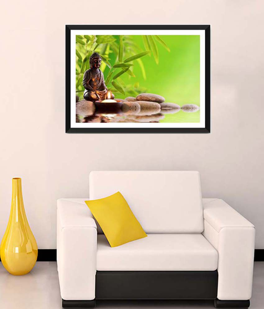 Tallenge Medium Green Meditating Buddha Framed Art Print