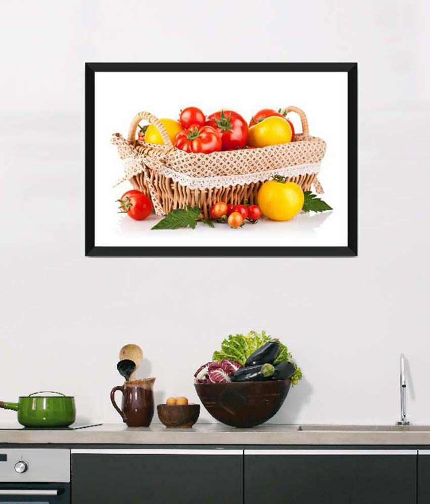 Tallenge Medium Red Art For Kitchen Fresh Veggie Basket Framed Art ...