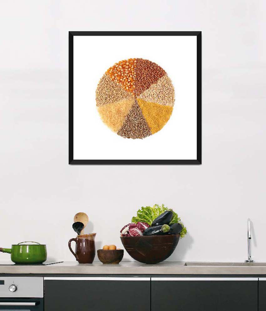 Tallenge Medium Yellow Art For Kitchen A Circle Of Day-To-Day Food Framed Art Print
