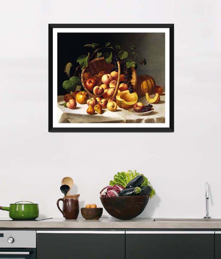 Tallenge Medium Yellow Art For Kitchen Basket Of Fruit Framed Art Print