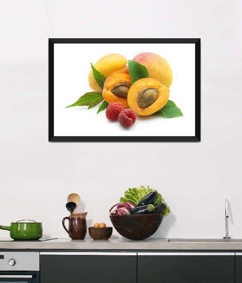 Tallenge Medium Yellow Art For Kitchen Freshness Of Peach Framed Art Print