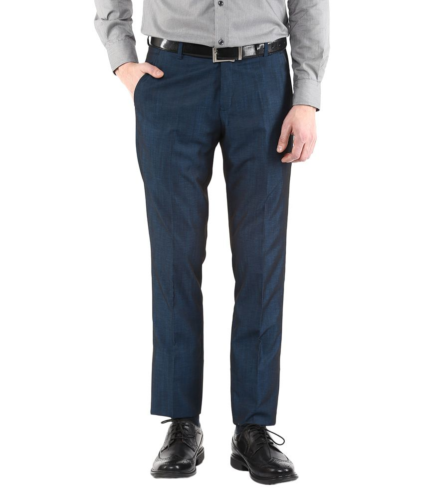 Cobb Blue Slim Fit Pleated Trousers No