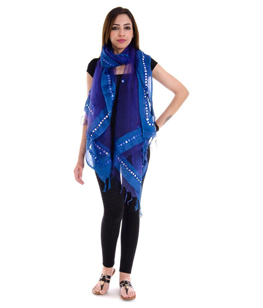 Home Shop Gift Blue Mirror Work Dupatta. Home Shop Gift Blue Mirror Work Dupatta Price in India   Buy Home