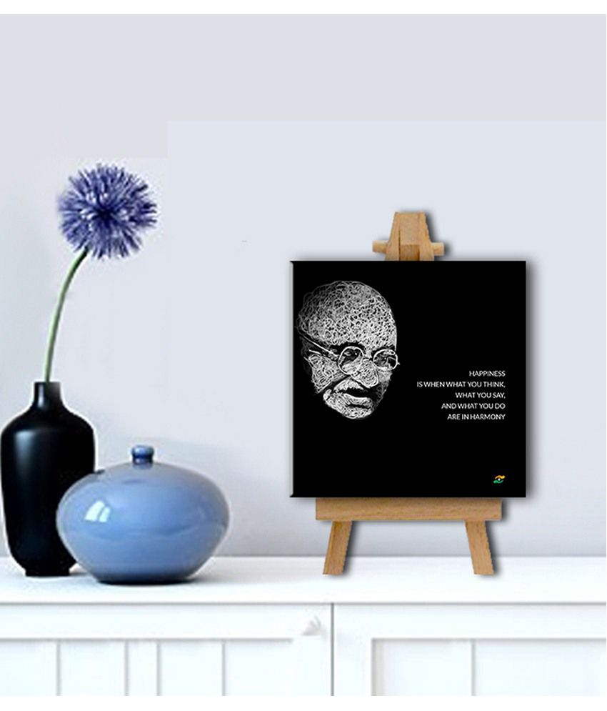 Tallenge Mahatma Gandhi Motivational Quotes Happiness Gallery Wrap Canvas Art Print With Easel
