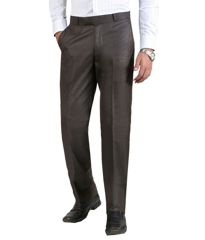 Deezired Brown Regular Fit Flat Trousers