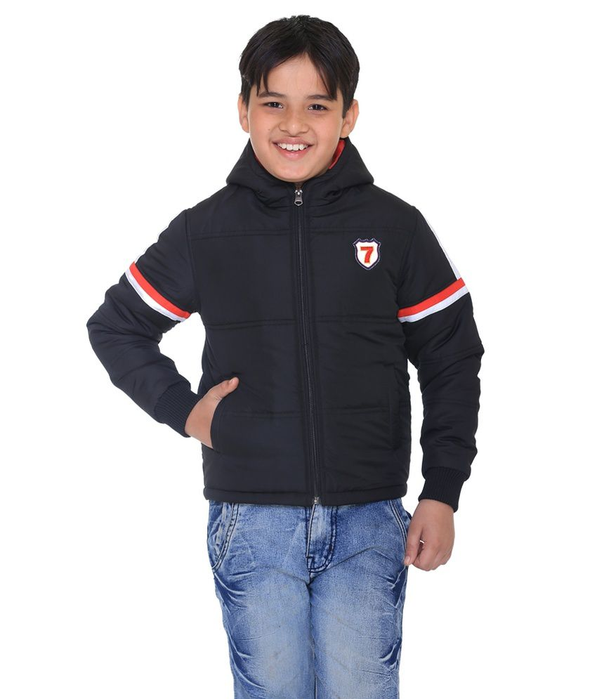 Kids-17 Black Polyester Quilted Jacket With Hood