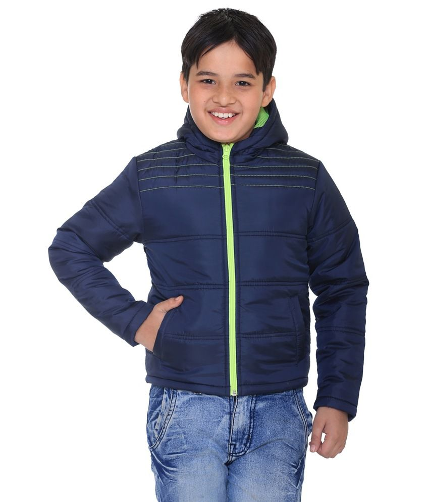 Kids-17 Navy Polyester Quilted Jacket With Hood