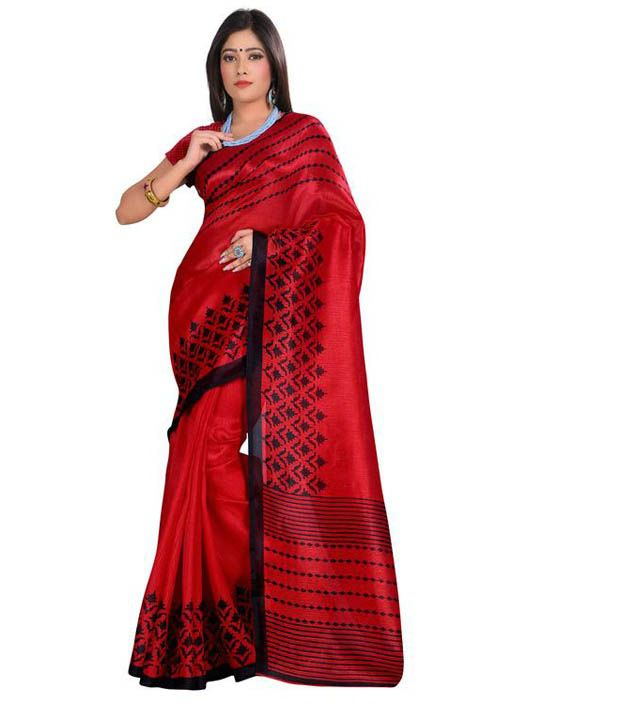 Maa Bhagwati Sarees Maroon Art Silk Saree