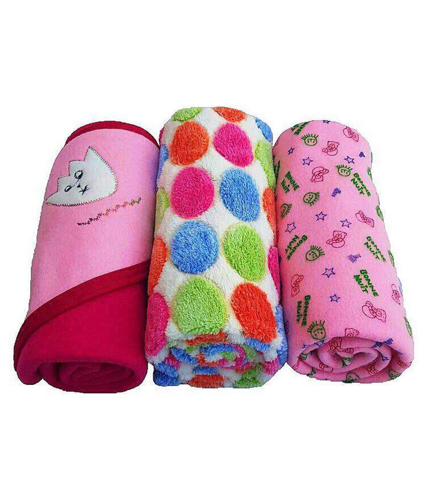 Brandonn Multicolour Polar Fleece Baby Blanket - Pack of 3