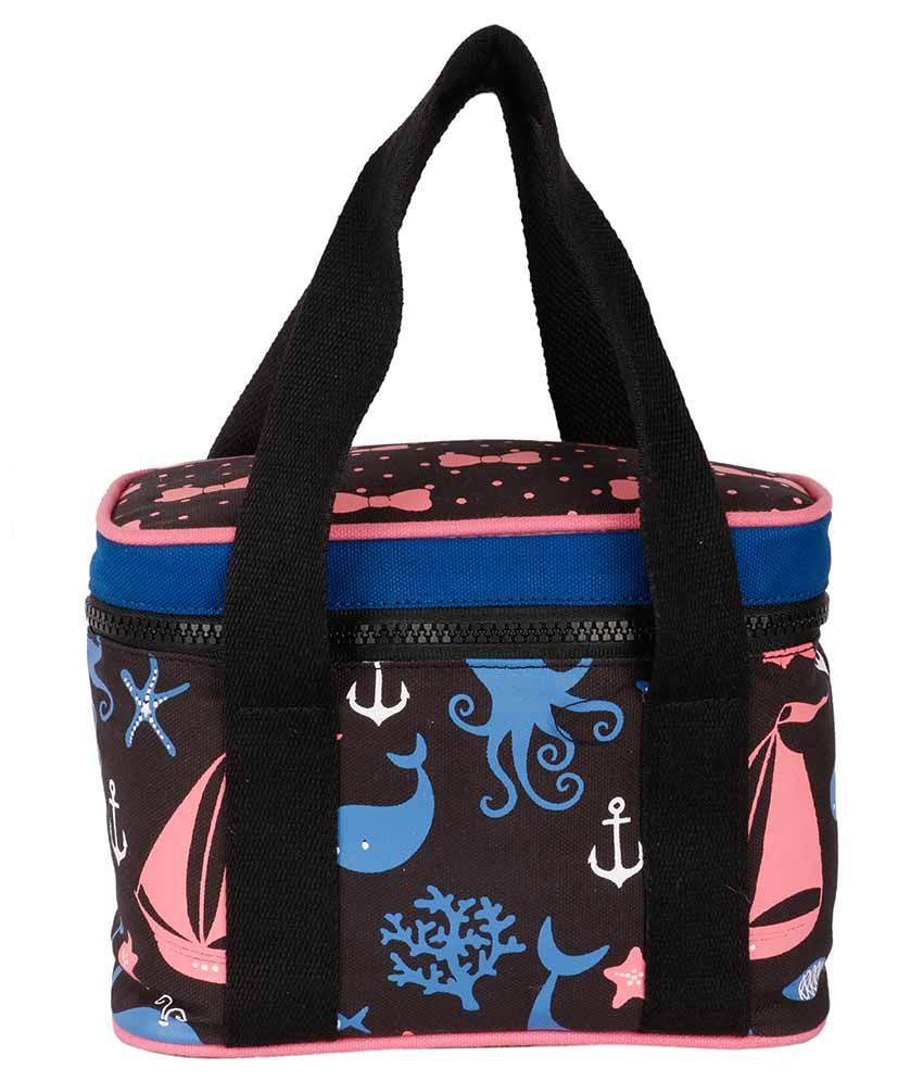 Kanvas Katha Black Canvas Cloth Lunch Bag