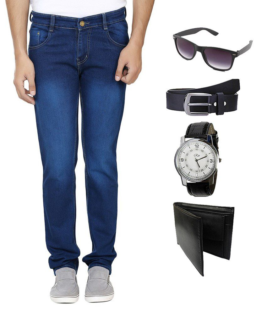 AVE Blue Regular Fit Jeans With Combo Of Belt, Watch, Wallet & Sunglasses
