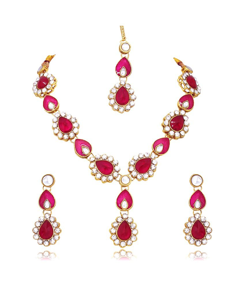 Atasi International Pink And White Necklace Set With Maang Tika