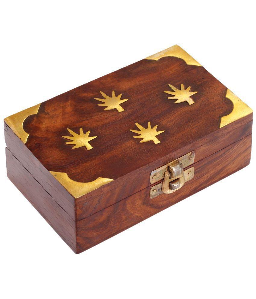 Craft Art India Brown Handmade Small Wooden Jewellery Box