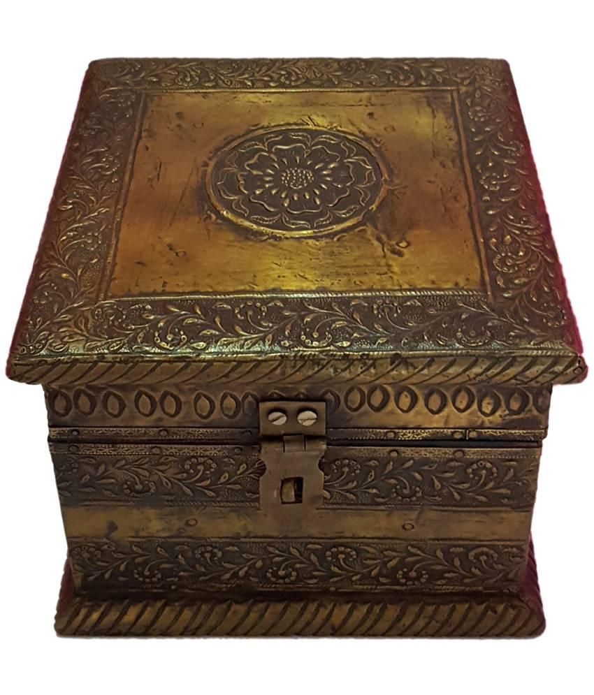 Shilpacharya Handicrafts Brown Antique Wooden Jewellery Box