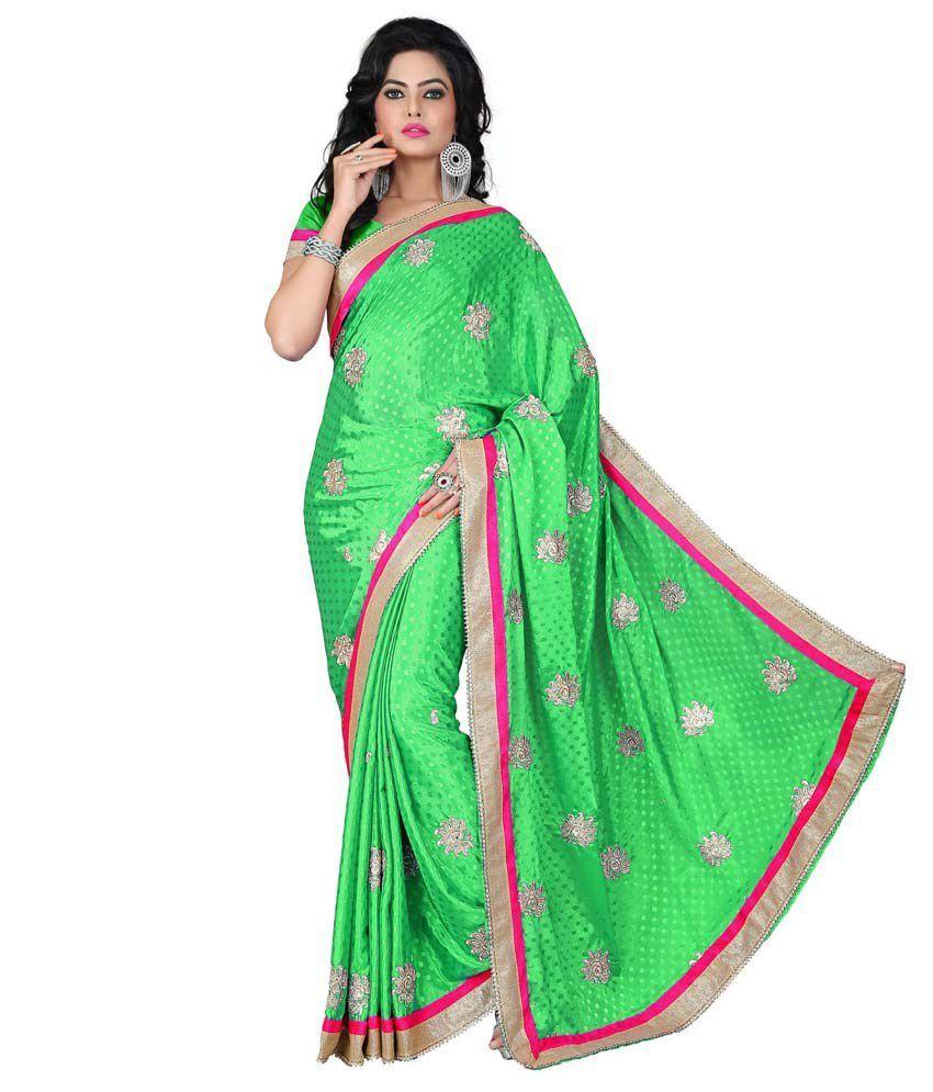 Ujjwal Creation Green Georgette Saree