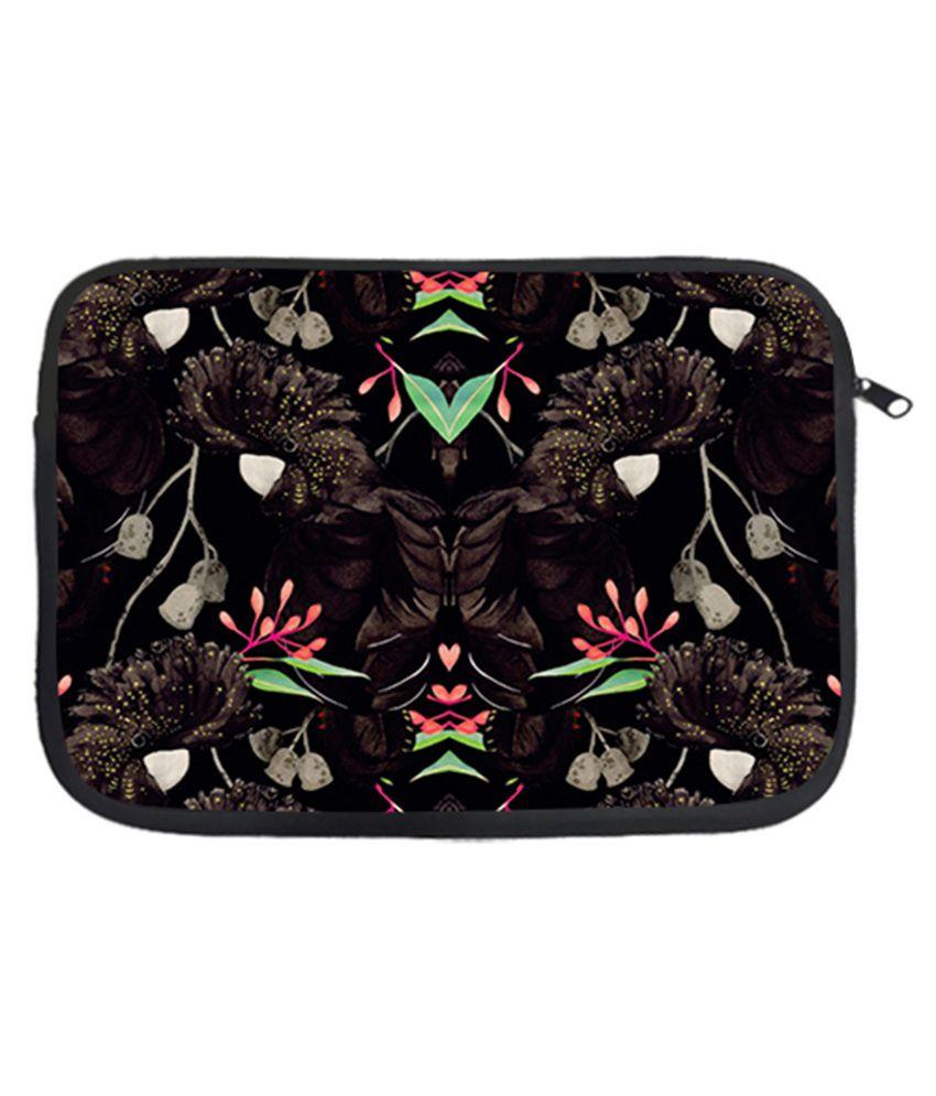 Via Flowers Black Laptop Sleeve - Multicolour