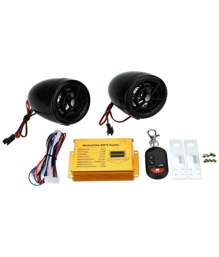 Waterproof Motorcycle Audio Systems Mp3 Speakers Fm Radio Alarm Wireless Remote With Usb Sd Slot