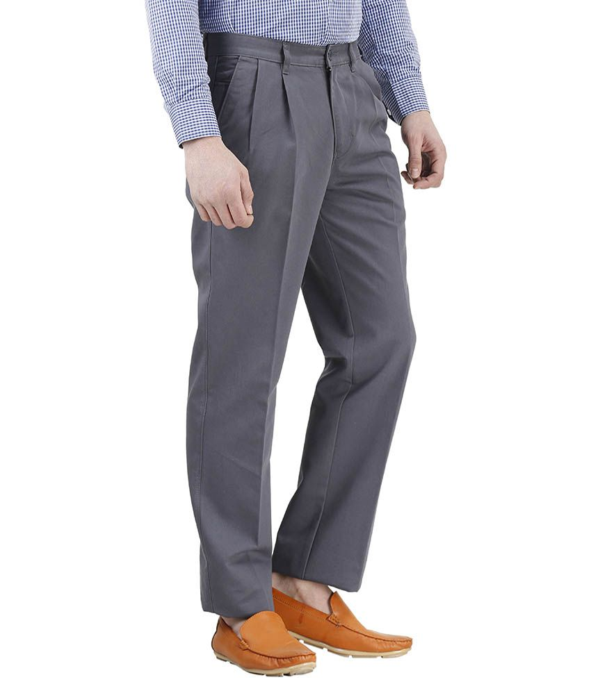 701d5b98321d Kingswood Grey Slim Fit Casual Pleated Trousers For Men - Buy ...