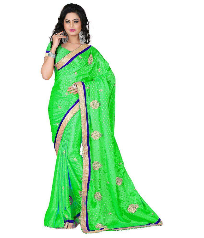 Panash Trends Green Georgette Saree