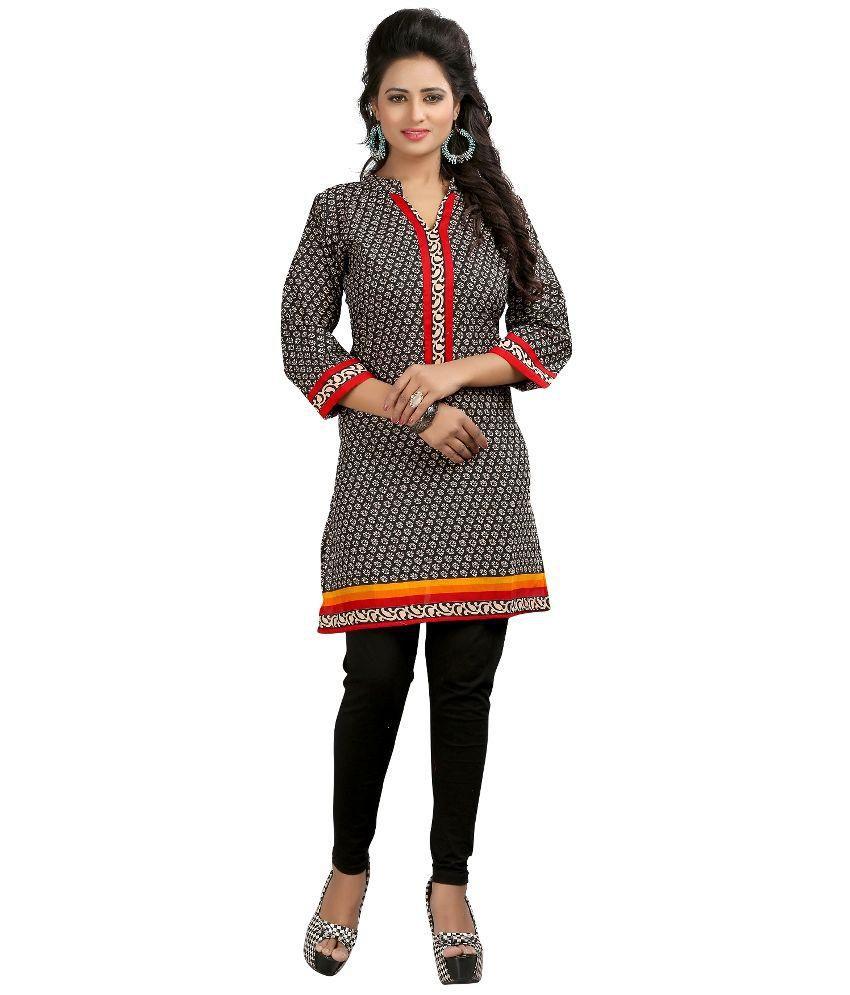 Prayosha sarees Gray Straight Art Crepe Kurti