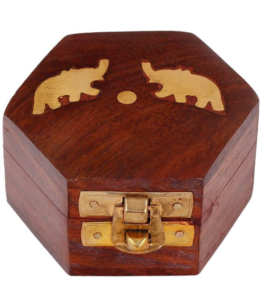 Craft Art India Handmade Small Wooden Jewellery / Accessories Storage Box With Embossed Brass Design
