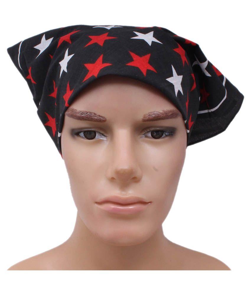 Sushito Black Printed Multi Purpose Head Wrap for Men