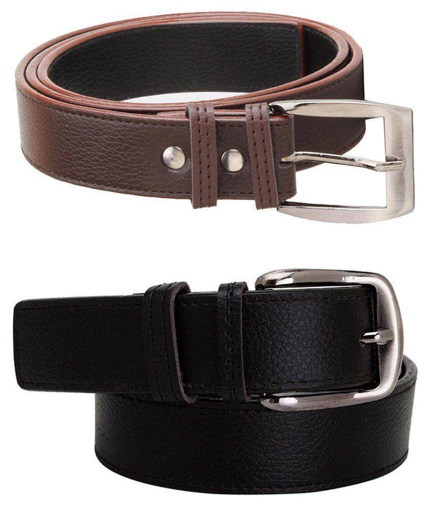 Elligator Combo Of Black & Brown Leather Casual Belt For Men