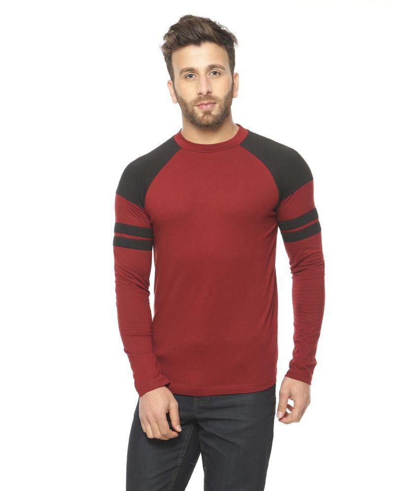 Gritstones Maroon Round Neck T-Shirt