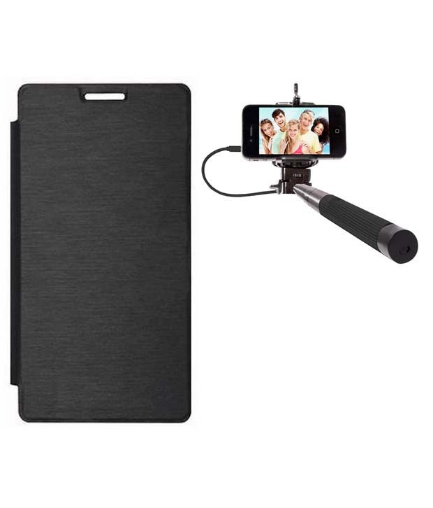 Romito Flip Cover for Micromax Canvas Fire 4G Q411 - Black with Selfie Stick
