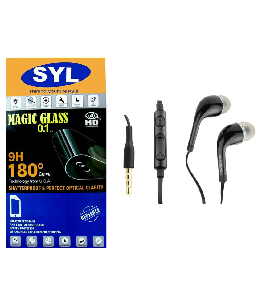 Samsung Galaxy Core (GT-I8262) Tempered Glass Screen Guard with Earphones by SYL