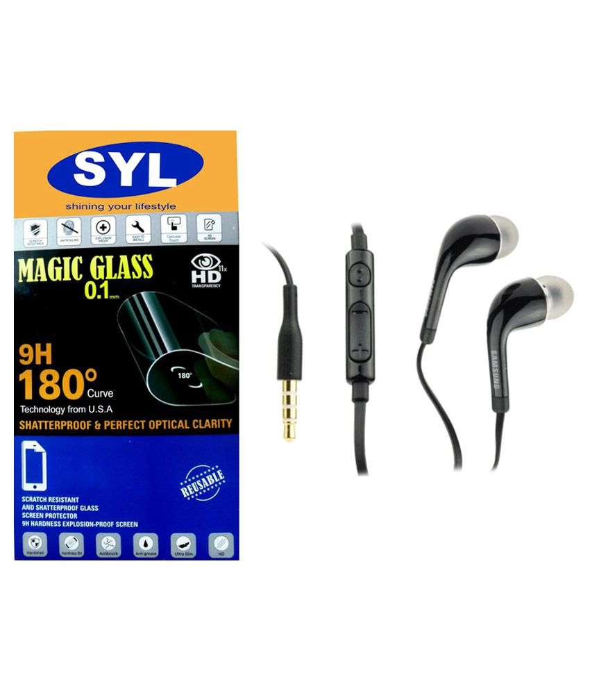 Moto X PLAY Tempered Glass Screen Guard with Earphones by SYL