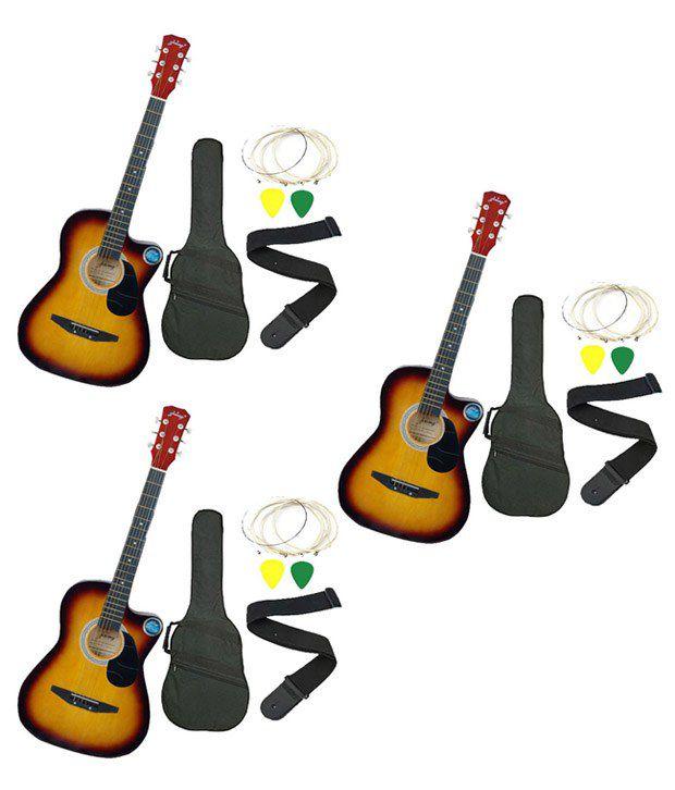 Jixing Sunburst Acoustic Guitar with Bag, Strings, Pick & Strap - Set of 3