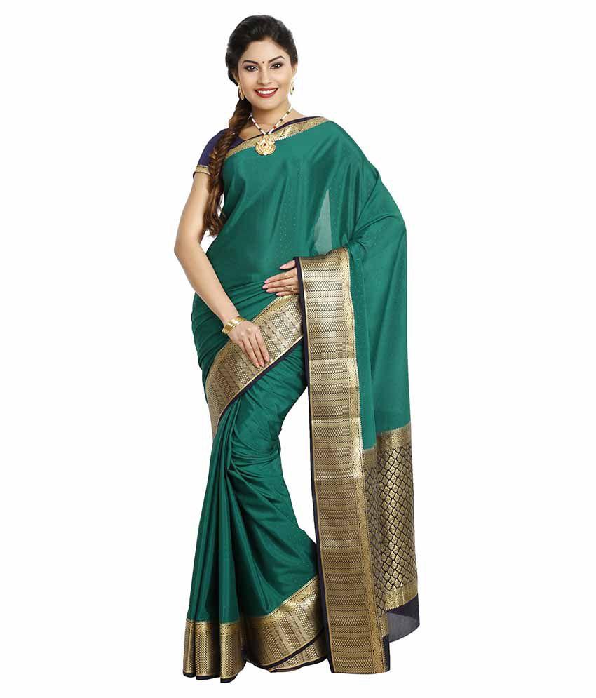 a86647412b6 Kaushika Sarees Green and Beige Mysore Silk Saree - Buy Kaushika Sarees  Green and Beige Mysore Silk Saree Online at Low Price - Snapdeal.com