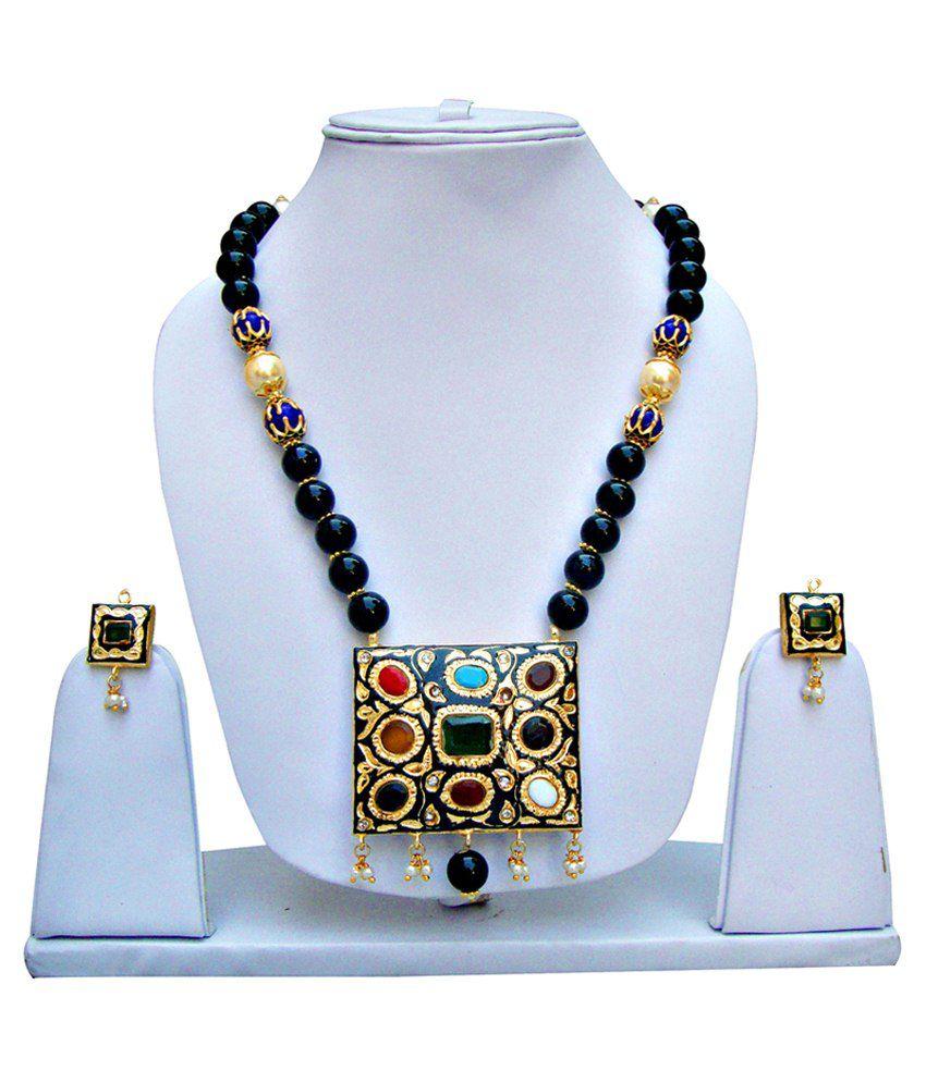 Lucky Jewellery Black & White Alloy Necklace Set