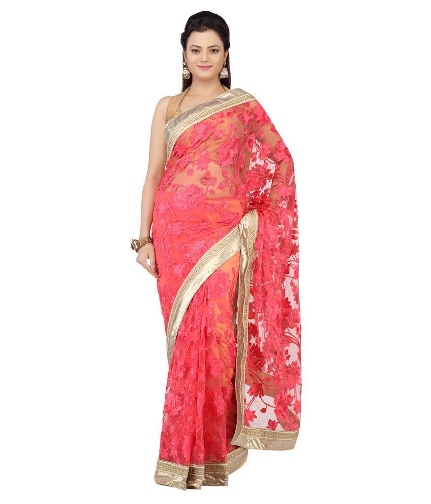 Jashn Pink Net Saree